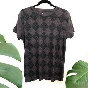 Carbon Mens Argyle Checks T-Shirt size Medium